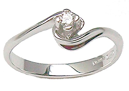 Aurum - Anillo solitario de 18 quilates, diamante de 0,05 quilates, oro blanco, talla 20