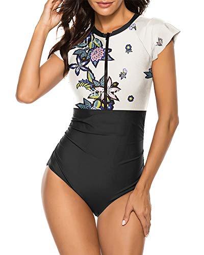 Wolddress Damen-Badeanzug mit Reißverschluss vorne, Einteiler für Rashguard, Surfen, Sport - - Large