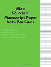 Wide 12 staff Manuscript Paper With Bar Lines