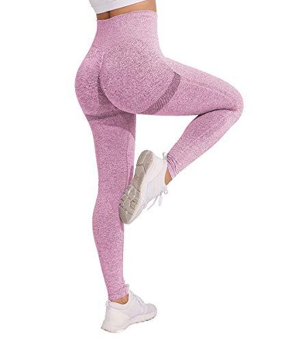 Yaavii Damen Sport Leggings Lange Blickdicht Yoga Leggings Figurformende Sporthose Yogahose Fitnesshose mit Hohe Taille Bauchkontrolle Rosa3 L