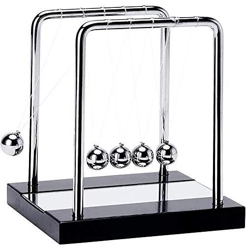 IUUWTMV Newton's Cradle Balance Balls with Mirror Black Wooden Base, Metal Pendulum Ball Newton...