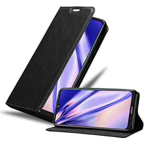 Cadorabo Hülle für Nokia 7.2 in Nacht SCHWARZ - Handyhülle mit Magnetverschluss, Standfunktion & Kartenfach - Hülle Cover Schutzhülle Etui Tasche Book Klapp Style