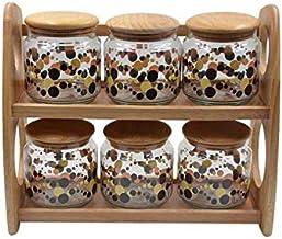 7-Piece Storage Jar Set Beige/Clear 35x30x16 centimeter,T276TP