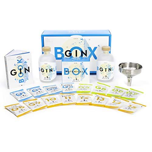 Deluxe DIY Gin Set zum selber Machen | das perfekte Geschenk für Männer und Gin Liebhaber | großes komplettes Gin Geschenkset mit Buch und besonderen Botanicals