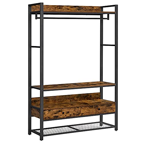 VASAGLE ALINRU Free Standing Closet Organizer, Clothes Rack, 2 Drawers, and Shoe Shelves for Entryway Closet, Industrial Design, Rustic Brown and Black URGR002B01