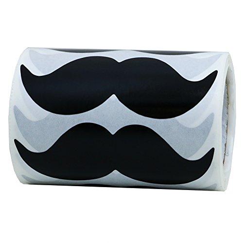 Hybsk 8cm x 4cm Black Mustache Stickers - Moustache Party Favors Total 200 Per Roll