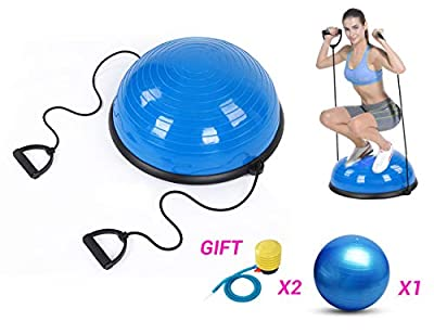 "fastUU Balance Ball, Balance Trainer Ball Yoga Balance Exercise Ball Sport Balance Trainer Fitness Ball Balance Ball Trainer with Resistance Band?20"" Diameter"