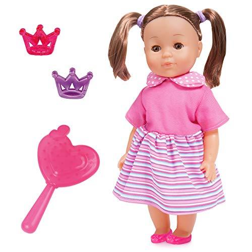 Bayer Design 93335AP Funktionspuppe Charlene Meine sprechende Freundin 33cm, Babypuppe mit Schlafaugen, spricht 50 Sätze, braune Haare