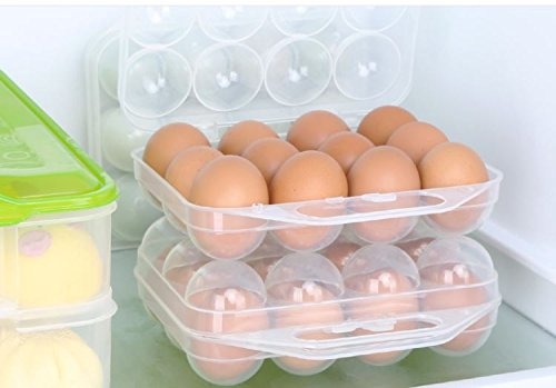Portable Egg Tray Holder, Youthful Folding Transparent Egg Container with 12 Eggs Holder, Egg Tray Carrier with Handle for Refrigerator Camping Hiking Travel (White)