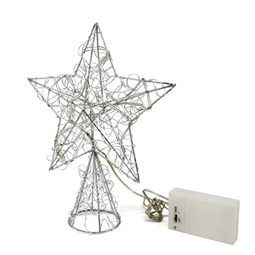 CVHOMEDECO. Silver Wire Twine Tree Top Star with Bright White LED Lights and Timer for Christmas Ornaments and Holiday Seasonal Décor, 8 x 10 Inch
