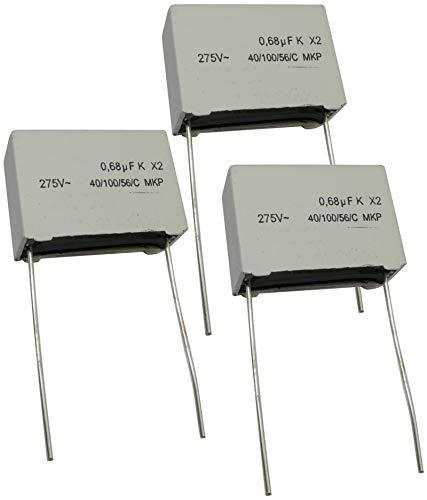 AERZETIX - Juego de 3 - Condensador Polipropileno X2 - THT - 680nF ±10% - 22.5mm - 26.5x18.5x10.5mm...