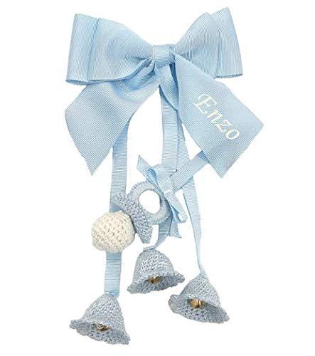 Campanillas de Crochet PERSONALIZADAS para carrito de bebé decorativas con cascabeles (Azul)