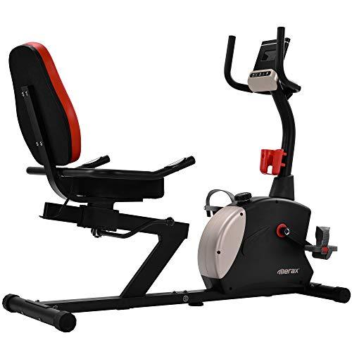 Medidor de posición para tumbona, ergómetro con sistema de frenado magnético y 8 niveles de resistencia, asiento ajustable, pulsómetro, monitor LED, Bluetooth, aplicación gratuita