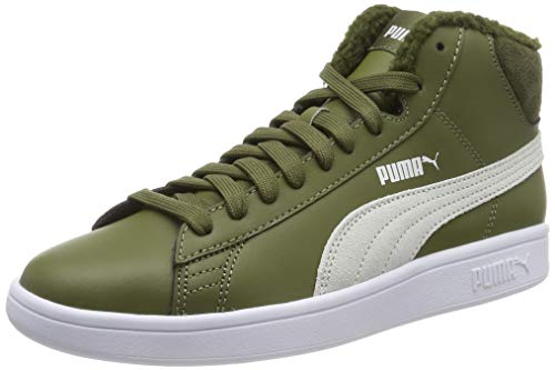 Puma Puma Smash v2 Mid L Fur Jr Sneaker Unisex-Kinder, Grün (Burnt Olive-Puma White 04), 39 EU
