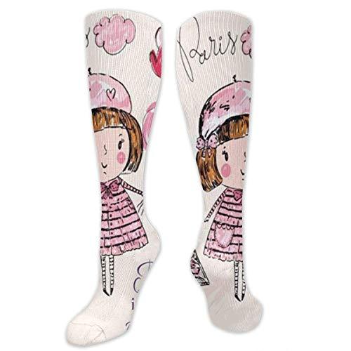 Parijs is altijd een goed idee mooi roze meisje met ballon compressie sok voor vrouwen & mannen - het beste voor hardlopen, atletische sporten, Flight Travel 19.68