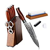 Damascus Kitchen Knife Set with Block Wooden and Sharpener Stone- Yarenh Professional Chef knife Set 8 Piece - Japanese High Carbon Stainless Steel - Galbergia wood Handle - Gift Box Packaging