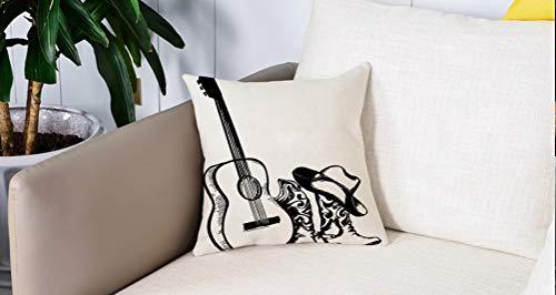 Pillow Case Cojín Cuadrado Print,Western, tema de música country con sombrero de vaquero y arte de boceto de guitarra, blanco yAdecuado para Oficina, Familia, automóvil, cafetería, Tienda, 45x45cm