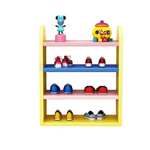 Zapatero Estante de zapatos creativos 4 niveles de zapatos de zapatos de madera Organizador de zapatos para la sala de estar de entrada de pasillo y dormitorio Estante de zapatos ( Color : Yellow )