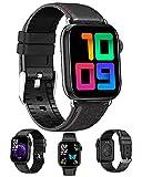 FMSBSC Smartwatch Reloj Inteligente para Android iOS Mujeres Y Hombres, Reloj Digital Deportivo Rastreador De Ejercicios Ritmo Cardiaco Oxigeno En Sangre Monitor De Sueño Presión Arterial,Black a