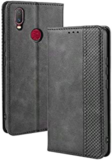 Advanced Compatible With For Vivo Y11 2019 Phone Case With Name Card Holder, Magnet Flip, Support Function, Shockproof Protective Case Cover (Color : Black)
