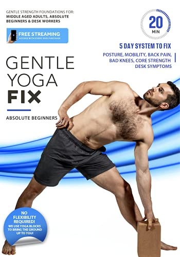Gentle Yoga Fix - Simple Strength Foundations For Older Adults To Fix Posture, Desk Related Pain, Back Aches, Energy Levels, Core Strength, and Stress   Complete 5 Day System, 20 Min or Less Per Day
