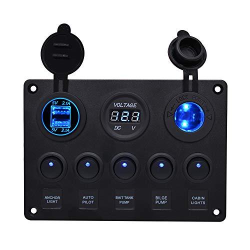 FORNORM 5 Gang 12V/24V Auto Boot Marine Wippenschalter, ON-OFF Schalter Panel Kippschalter mit 5V 2.1A Dual USB Ladegerät Digitale Voltmeter Zigarettenanzünder Sockel, Blau LED