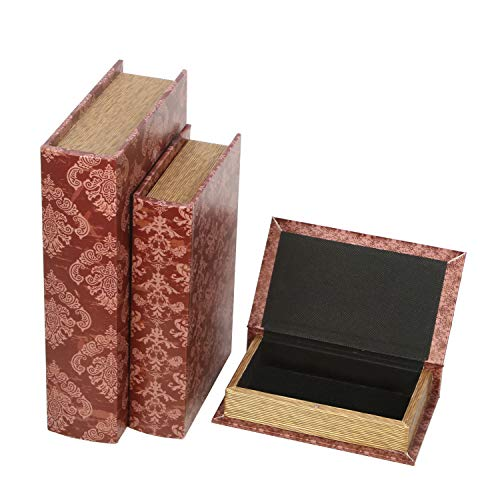 """Hosley Storage Farmhouse Memory Book Boxes Set of 3, Red Brown & Gold,12"""", 10"""", 8"""" H. Ideal Gift for Wedding Memories Jewelry Trinket Hobby Favor Keepsake Cash Pill Nail Polish Gifts Cards Photo O8"""