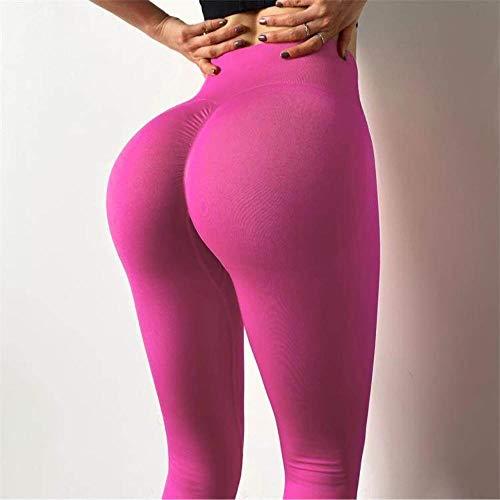 Mayas Deportivas Mujer,Pantalones de Yoga elásticos de Alta Cintura, Pantalones Deportivos absorbentes de Sudor-Rosa roja_M,Mujer Fitness Mallas Push