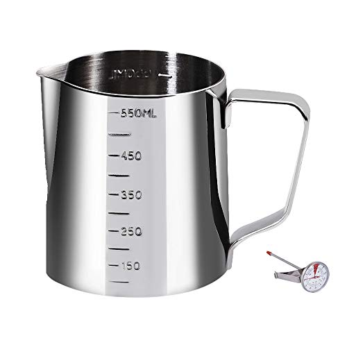 Coffee Milk Frothing Pitcher Cup with Measurement Inside Thermometer set 20oz/550ML Stainless Steel Espresso Steaming Pitcher Tool for Cappuccino Machines Espresso Pitcher Latte Art