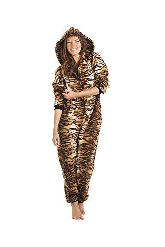 Damen Schlafanzug-Overall mit Kapuze - Tigerfell-Muster - Goldfarben/Braun - Größen 38/40 (S)