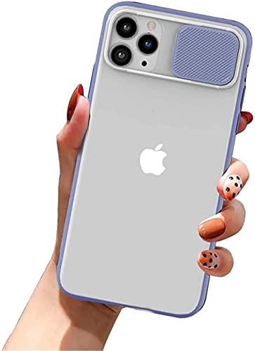 Custodia per iPhone SE 2020, iPhone 8 7, elegante custodia protettiva con fotocamera protettiva traslucida opaca + cover in silicone TPU per iPhone SE 2020/8/7 (Lila)