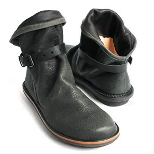 Posional Botas Zapatos Mujer OtoñO Invierno Cuero Cortas De Moda Botas De Cuero De Mujeres Artificiales Botas Altas De Rodilla Zapatos De OtoñO Invierno Zapatos Interiores