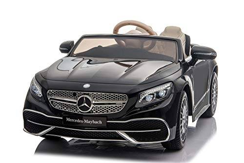 12V 7A Mercedes Benz Maybach S650 Cabriolet Licensed Battery Powered Electric Ride On Toy Car EVA WHEELS, LEATHER SEATS, Bluetooth Music RADIO (METALLIC BLACK)