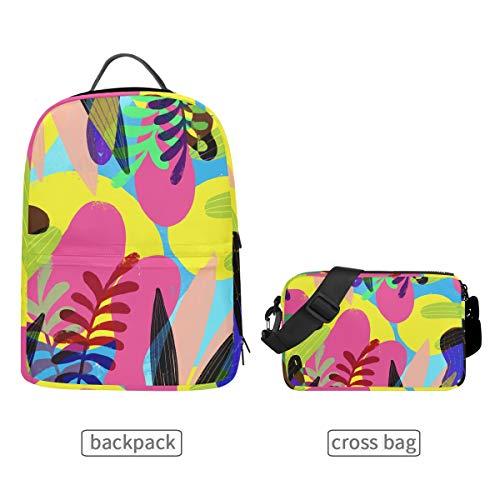 Rucksack mit Abnehmbarer Umhängetasche, tropisches Blatt-Design, für Damen und Herren