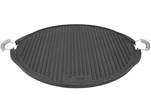 BBQ-Toro Gusseisen Grillplatte mit Griffen | Wendegrillplatte - emailliert | Gasgrill Zubehör für Kugelgrill | Emaille Steakplatte (Ø 53 cm)
