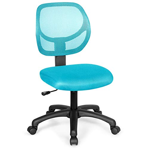 Giantex Kids Desk Chair, Mesh Teens Computer Chair with Wheels, Armless Task Chair Kids Furniture with Adjustable Height & Lumbar Support, Capacity 220 lbs Children Student Swivel Chair (Green)