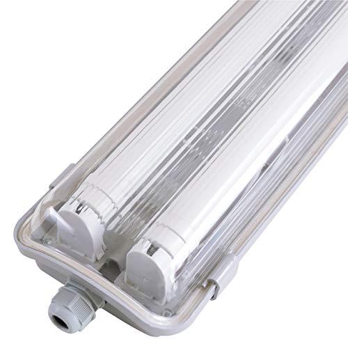 proventa Luminaria LED estanca IP65 a prueba de humedad y polvo 120 cm. Tubos LED incluidos 4.000K 36W 3.600 lúmenes. Pantalla de policarbonato con protección IK08. Clase energética A+