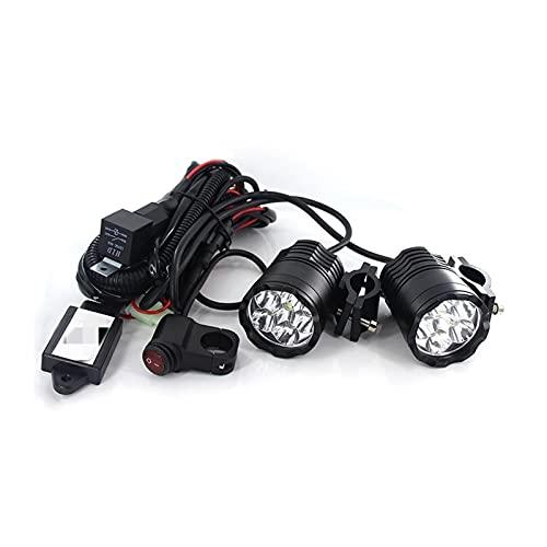ZHANGWW ZWF Store Plug & AMPPlay 60W Faro de la Motocicleta Spotlight 9600lm / Set 6000k Auxiliary DIRIGIÓ Luces Fog Light CNC Carcasa de Aluminio mecanizado. (Color : Black)