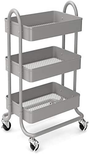 3 Tier Rolling Metal Storage Organizer Mobile Utility Cart Kitchen Cart with Caster Wheels Grey product image
