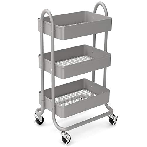 3-Tier Rolling Metal Storage Organizer - Mobile Utility Cart, Kitchen Cart with Caster Wheels (Grey)