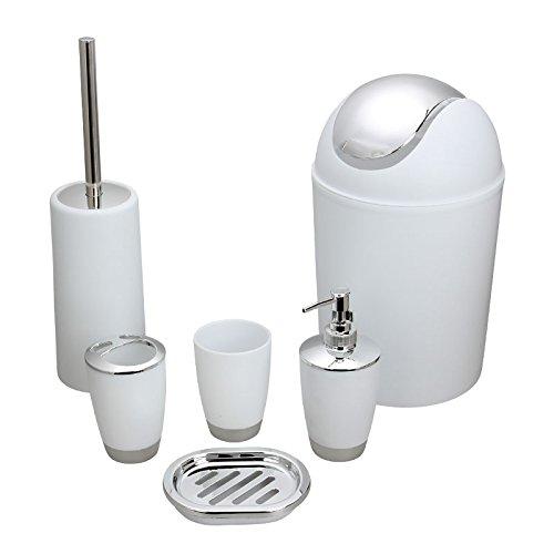 Alician 6Pcs/Set Trash Can Toilet Brush Liquid Dispenser Soap Box Cup Toothbrush Holder Set for Bathroom White