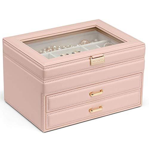 HAOSHUAI Caja de joyería, Organizador de Joyas con cajones Caja de Almacenamiento de Terciopelo de joyería de Cuero, para almacenar Anillos, Pulseras, Pendientes, Collares, Regalo Femenino