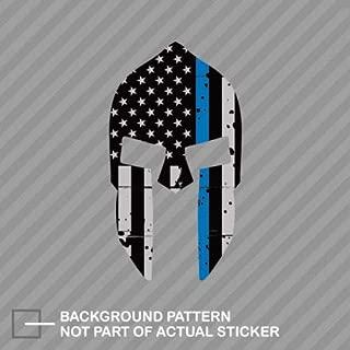Tattered Thin Blue Line American Flag Sticker Spartan Helmet Decal for Car Truck Window Laptop Vinyl Patch