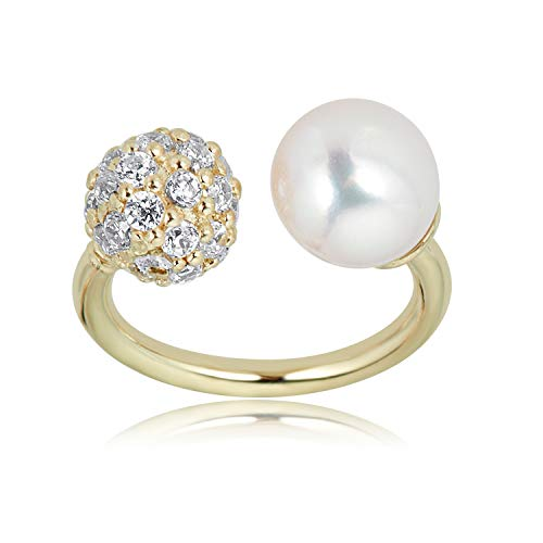 AVORA 10K Yellow Gold 4mm Cultured Freshwater Pearl and Simulated Diamond CZ Ball Horseshoe Eyebrow Body Jewelry -018 Gauge