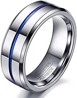 خاتم مصنوع من التنجستن مع الختم الاصلي من الداخل لونه فضي بخط ازرق مقاس 12