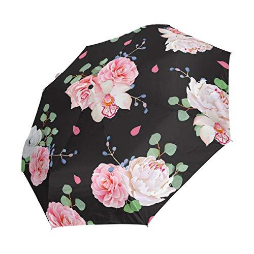 Faltbarer Reise-Regenschirm, Blumensträuße, Pfingstrose, Kamelie, Orchidee, Sonnenschutz, winddicht, tragbar, automatischer Sonnenschirm