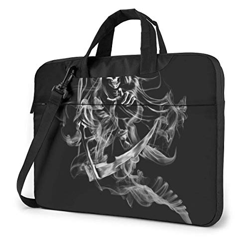 Laptop-schoudertas met laptophoes 15,6 inch, rokende schedeldruk computerhoes met handgreep