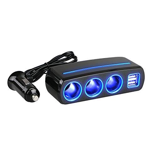 Linkstyle 120W 3-Way Caricabatteria Auto USB, Car Accendisigari Socket Charger Adattatore Splitter w   2 Porta USB per per Smartphone Dispositivi Tablet GPS