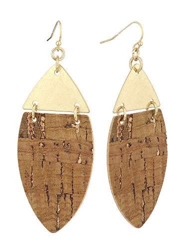 Women's Metal Wood Textured Almond Shape Dangle Pierced Earrings, Brown
