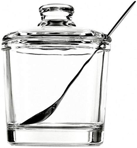 Juego de azucarero clásico de cristal transparente con tapa